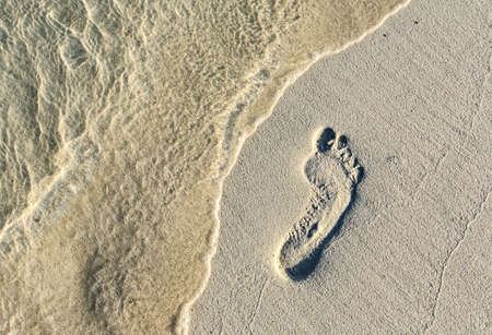 Fun footstep on a coral sandy beach