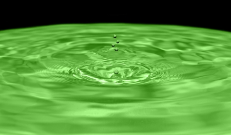 Drops water on green background Stock Photo