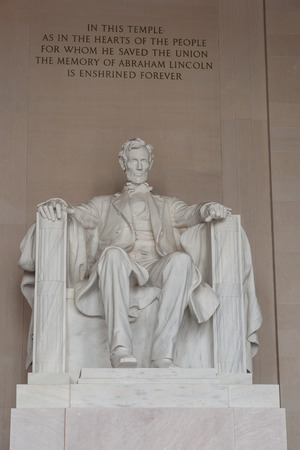Statue of Abraham Lincoln in the Lincoln Memorial in Washington DC