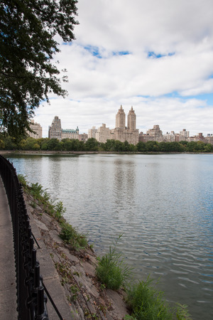Buildings in New York City viewed from Central Park Stock Photo