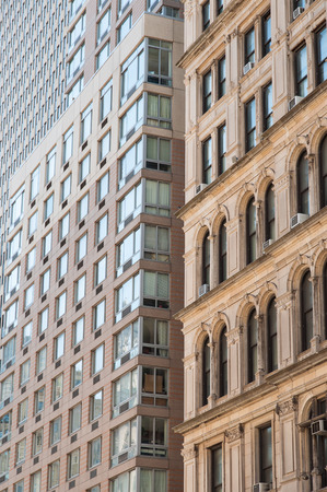 Windows of buildings in the city Stock Photo
