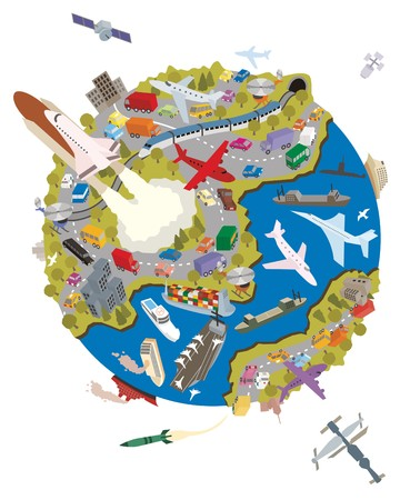 Planet Earth is a busy place. Everybody is transporting something.  No transparency and gradients used in the vector file.