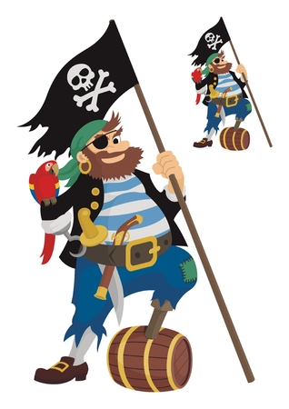 A happy pirate, owning all the accessories required for his profession.  On the little picture is the same pirate, but without shades.   No transparency and gradients used in the vector file. Vector