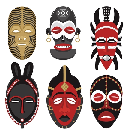 Six African masks.  No transparency and gradients used in the vector file.