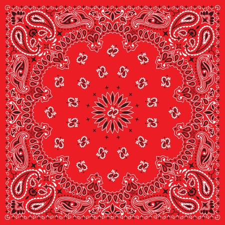 bandanna: 3 colors bandanna. You can easily change the background color in the vector file.  No transparency and gradients used in the vector file. Illustration