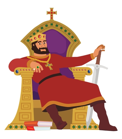 A happy king, resting in his throne. This image is also available with background in my portfolio.  No transparency and gradients used in the vector file. Vector