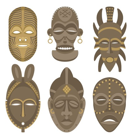 Six African masks.  No transparency and gradients used in the vector file. Vector