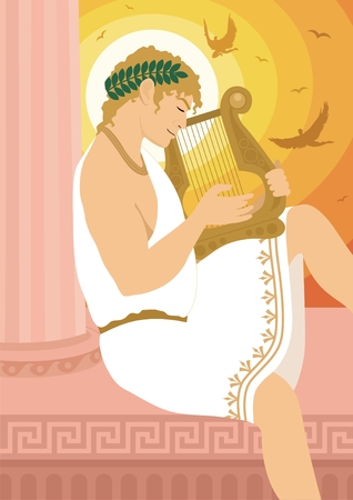 The god of the Sun, Apollo, playing a lyre.   No transparency and gradients used in the vector file. Vector