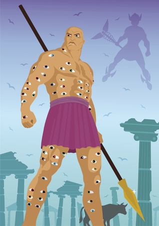 The hundred eyed giant Argus All-seeing, standing guard over the cow Io  God Hermes is coming to steal the cow  Stock Vector - 5657542