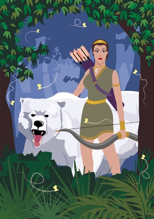 The Greek goddess of hunt, Artemis, walking through the woods with her friend - a she-bear.    No transparency and gradients used in the vector file.