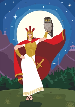 The wise goddess Athena with her favorite bird – the owl.  No transparency and gradients used in the vector file. Vector
