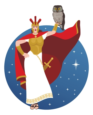 The wise goddess Athena with her favorite bird � the owl.   No transparency used in the vector file. Vector