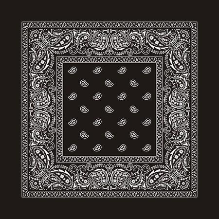 disegno cachemire: Bandana nera con ornamenti bianchi. Questo � il secondo dei 2 tipi classici di bandane. Entrambi i tipi sono disponibili nel mio portafoglio a variazioni di colore diverso. Assenza di trasparenza e gradienti utilizzati nel file vettoriale. Vettoriali