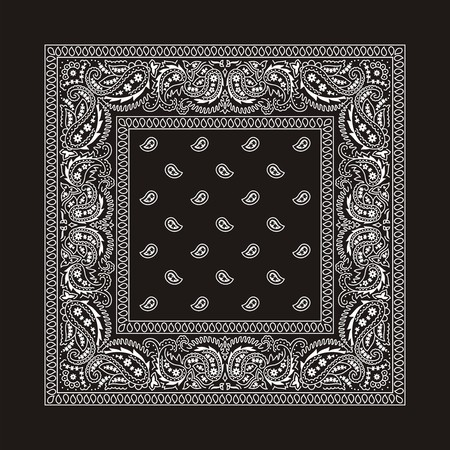 Black bandana with white ornaments  This is the second of the 2 classic types of bandanas  Both types are available in my portfolio in different color variations    No transparency and gradients used in the vector file  Vector