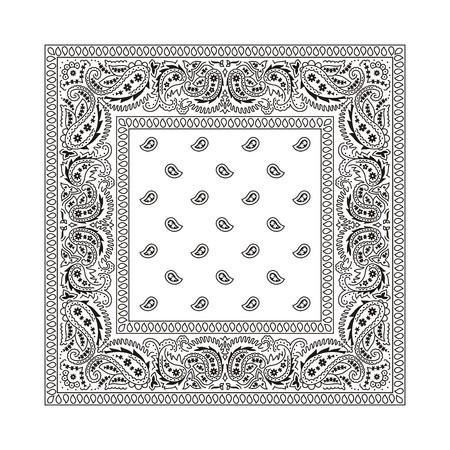 de maras: Bandana blanco con adornos de negros. Este es el segundo de los 2 tipos cl�sicos de bandanas. Ambos tipos est�n disponibles en mi cartera en las variaciones de color diferente.  Sin transparencia y degradados que se utiliza en el archivo vectorial.