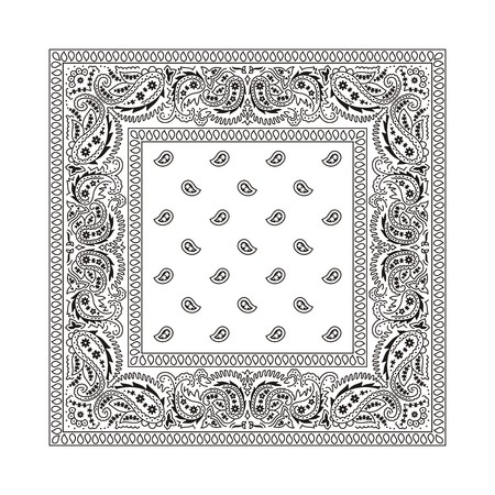 bandana western: White bandana with black ornaments  This is the second of the 2 classic types of bandanas  Illustration