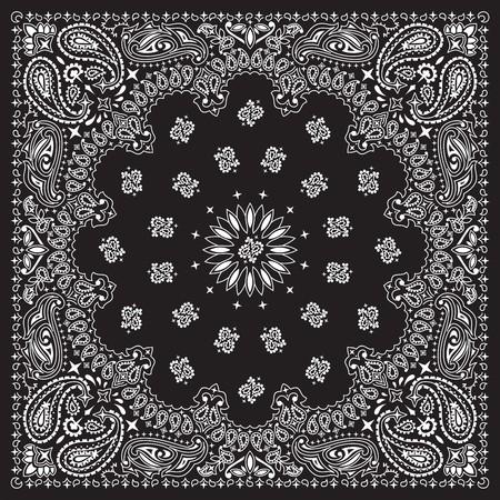 disegno cachemire: Bandana nera con ornamenti bianchi. Assenza di trasparenza e gradienti utilizzati nel file vettoriale.
