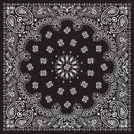 Black bandana with white ornaments   No transparency and gradients used in the vector file  Vector