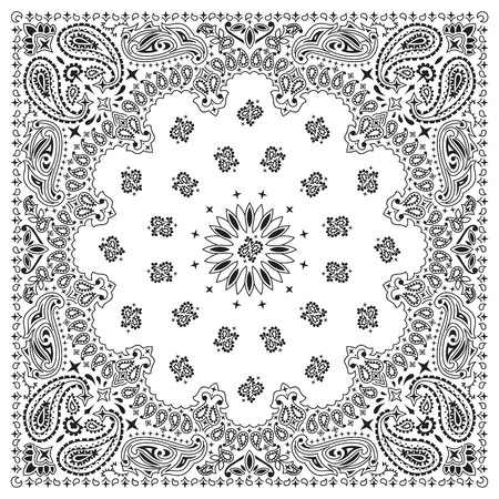 White bandana with black ornaments Vector