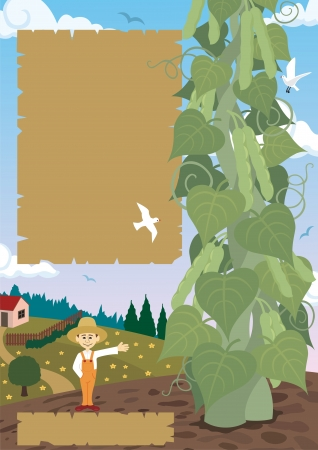 redneck: Jack, posing proudly with the enormous beanstalk that he cultivated  His farm is in the back ground Illustration