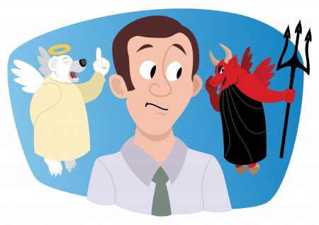 advice: A young investorstock broker, receiving a bullish advice from a bull, looking much like a devil. A bear-angel is trying to warn him and protect him, but would he listen? No transparency used in the vector file.
