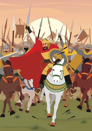 A King/Tsar/Emperor leading the army into battle. No transparency and gradients used in the vector file. Vektorové ilustrace