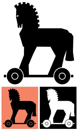 greek mythology: Stylized picture of the Trojan horse.   No transparency and gradients used in the vector file. Illustration