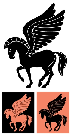 greek mythology: Stylized picture of the winged horse Pegasus, inspired by drawings on Greek vases.   No transparency and gradients used in the vector file. Illustration