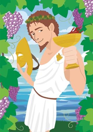 El dios del vino de Dionisos / Baco, proponer un brindis. No hay transparencia utilizada en el archivo vectorial. Foto de archivo - 5657555