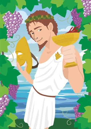 The god of wine Dionysus  Bacchus, proposing a toast.  No transparency used in the vector file.