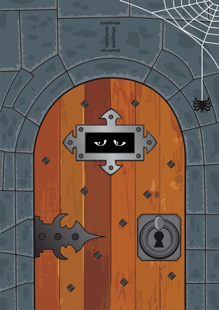 A door in an ancient or medieval dungeon. No transparency used in the vector file.