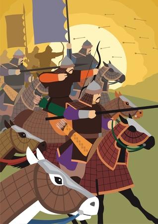 horseman: Los ataques de la Horda de oro.  Sin transparencia y degradados que se utiliza en el archivo vectorial.