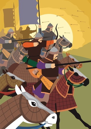 cavalry: The golden horde attacks.  No transparency and gradients used in the vector file.