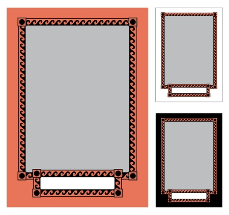 of them: A Greek frame in three colors: black, white and tropical pink (resembling the color of antique vases). You can replace them with whatever colors you like. The little can be easily removed. No transparency and gradients used in the vector file.