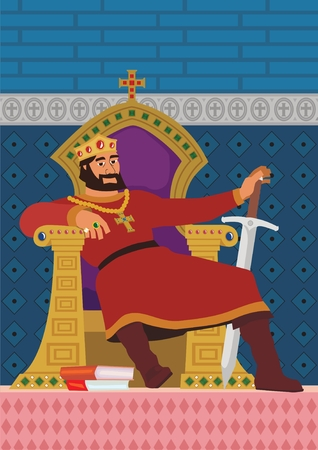 cartoon king: A happy king, resting in his throne.  No transparency and gradients used in the vector file.