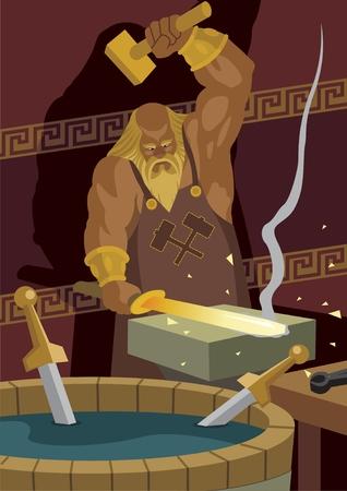 The smith god Hephaestus   Vulcan, forging a sword for the hero Achilles