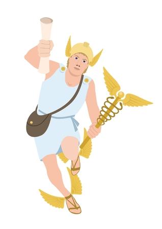 The God Hermes, isolated on white  Vector