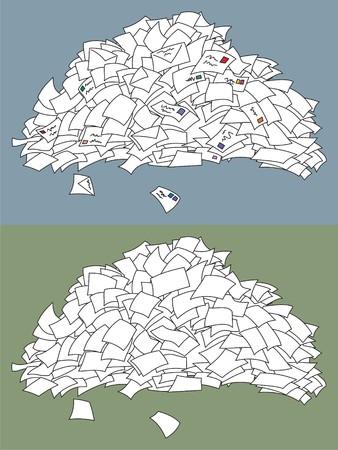 stapel papieren: Een stapel brieven. Hieronder is een andere stapel vellen (misschien stemmen-papieren facturen of iets anders.). Geen transparantie- en kleur overgangen in de vector bestand gebruikt.