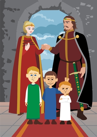 Picture of a medieval noble family     No transparency used in the vector file  Illusztráció