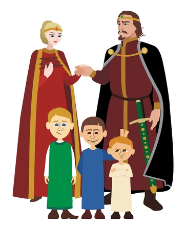 Picture of a medieval noble family    No transparency and gradients used in the vector file  Illustration