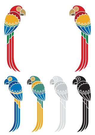 U kunt een titel of andere tekst tussen die twee decoratieve papegaaien plaatsen. Onder hen zijn enkele varianten in verschillende kleuren. Geen transparantie en kleur overgangen in de vector bestand gebruikt.  Vector Illustratie