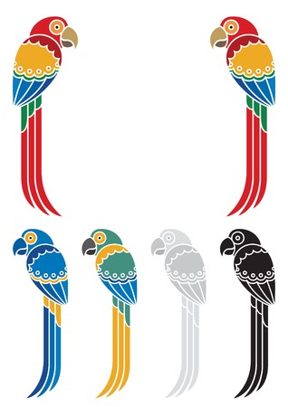 parrot tail: You can place a title or other text between those two decorative parrots  Below them are some variations in different colors    No transparency and gradients used in the vector file