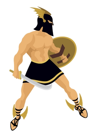 The Greek hero Perseus.   No transparency and gradients used in the vector file. Illustration