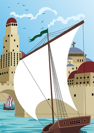 port: A sail ship is entering the port of a medieval or ancient city