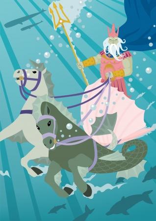 neptun: Die Meeresgottes Poseidon, seinen Wagen durch seine L�ndereien zu fahren. Keine Transparenz und in der Vektordatei verwendet.
