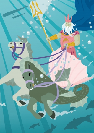 The sea god Poseidon, driving his chariot through his estates   No transparency and used in the vector file  Vector