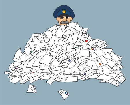 stuck: A postman, stuck in a pile of letters  Illustration
