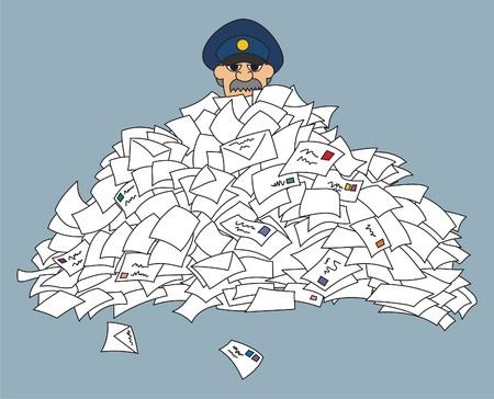 cartero: Un cartero, atrapado en un mont�n de cartas.  Sin transparencia y degradados que se utilizan en el archivo vectorial. Vectores