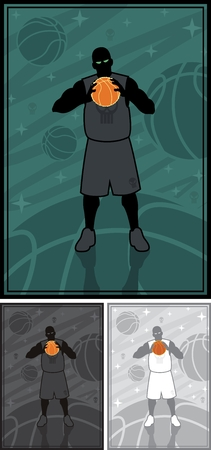 basketball ball in fire: A basketball streetball player on abstract background, holding a ball on fire  Good for basketball streetball posters   No transparency and gradients used in the vector file  Illustration