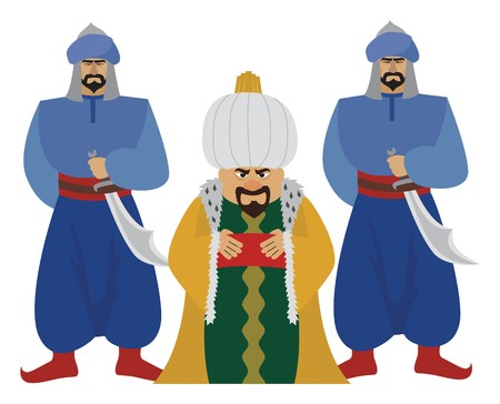 sultan: Happy sultan with his guards.  Illustration